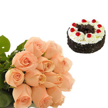 Peach Roses & Black Forest Cake