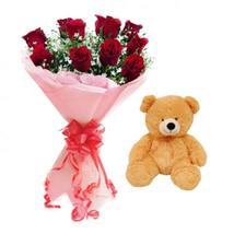 Teddy With Red Roses Bouquet