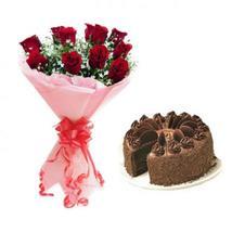 Red Roses & Truffle Cake