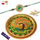 Premium Green rakhi with Rakhi Thali Combo