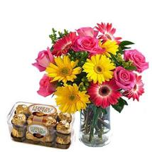 Colourful Flowers with Chocolate