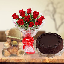 Roses, Cake & Teddy Bear