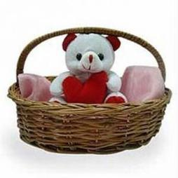 Send soft toys to bangaloreteddy bear to bangalore cute teddy in basket negle Images