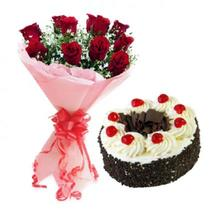 Red Roses & Black Forest Cake