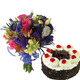 Cake & Mixed Flowers Bouquet