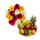 Exclusive Fruit Basket With Flowers