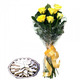 Kaju Burfi with Yellow Roses