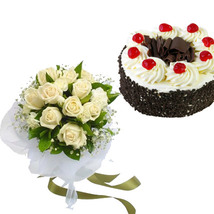 White Roses & Black Forest Cake