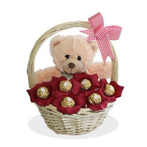 Teddy With Chocolates Basket