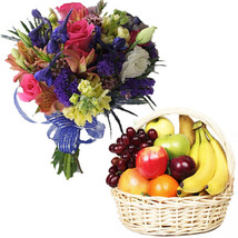 Fresh Fruit Basket With Flowers