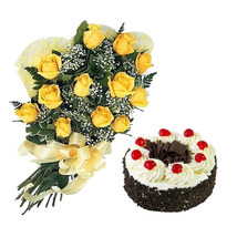 Yellow Roses & Black Forest Cake
