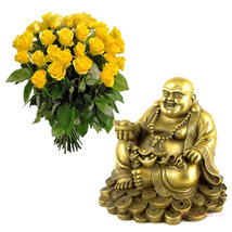Laughing Buddha With Roses