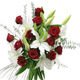 White Lily & Red Roses Basket