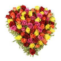 Mixed Roses Heart Arrangement