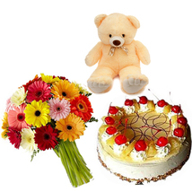 Gerbera , Teddy & Cake