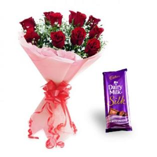 Valentines Gifts to Bangalore Dairy Milk Silk Valentine Roses with Cadbury Dairy