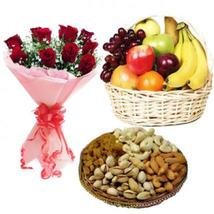Roses with Fresh Fruits & Dry Fruits