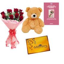 Roses, Chocolate & Teddy with Card