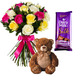 Roses & Teddy with Dairy Milk Silk