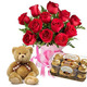 Valentine Red Roses, Teddy & Chocolates